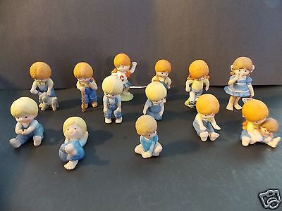 VINTAGE ENESCO COUNTRY COUSINS GIRL AND BOY 1980-1985  FIGURES LOT OF 13