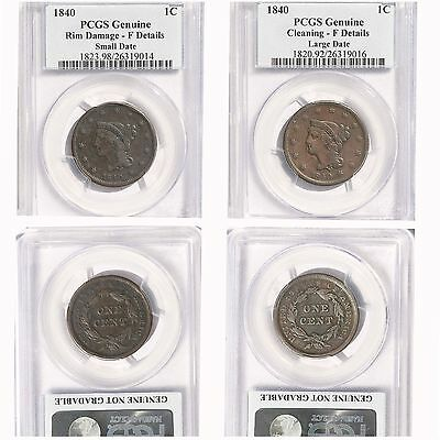 1840 1C Braided Hair Large Cent Small & Large Date PCGS GENUINE Lot of 2 Coins