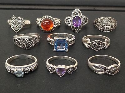 Wholesale Jewelry Lot Of 10 Solid 925 Sterling Marcasite & Gemstone Rings #R1614