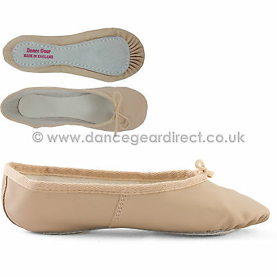 WIDE FIT Pink Leather Ballet Shoes Full Sole Girls Ladies by Dance Gear PLSSW