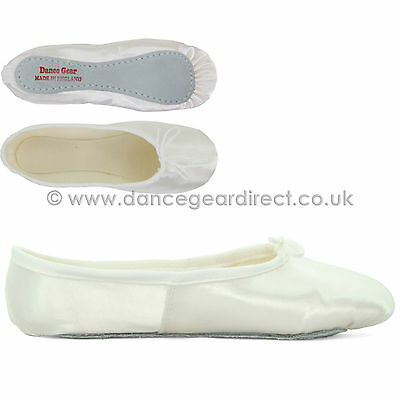 White Satin Full Sole Ballet Shoes Pumps Childs Girls Ladies by Dance Gear WSSS