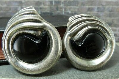 Vintage Art Deco Styled Swirled Mexico Black & Sterling Silver Clip on Earrings