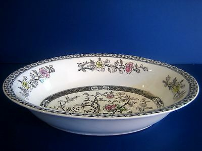OVAL SERVING BOWL Made in Japan Indian Tree Gray Brown White Multi Flower Branch