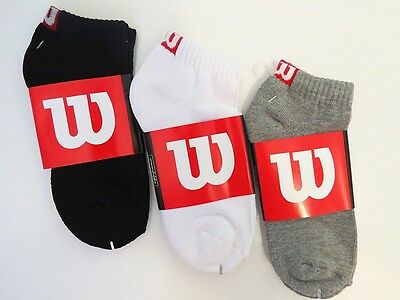 **Wilson** Men's Tennis  Lightweight Cotton Low Cut Cushioned Quarter Socks