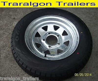 wheel tyre package galvanised 155/R13C 5 stud suit HT holden, boat trailer WH1