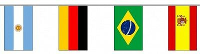 Football World Cup Brazil 2014 Polyester Flag Bunting - 10m long with 32 Flags