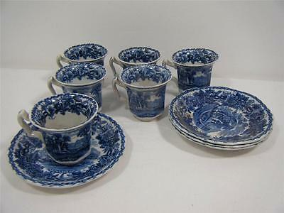 "Booths ""British Scenery"" 10piece coffee set, blue and white coloured"