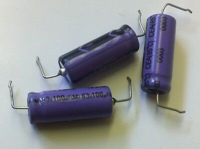 100UF 63V AXIAL DUBILIER ELECTROLYTIC CAPACITOR (x3)  bsa7b0