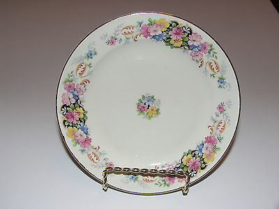 Edwin M. Knowles China Hostess Bread Plates Flower Design trimmed in Gold - USA