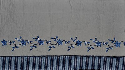 Window Valance~Quilted Blue~White~Embroidery Flower Vine~Curtain~JC Penney~NEW