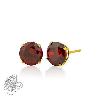 14K Solid Yellow Gold January Garnet Round Shape Stud Earrings Push