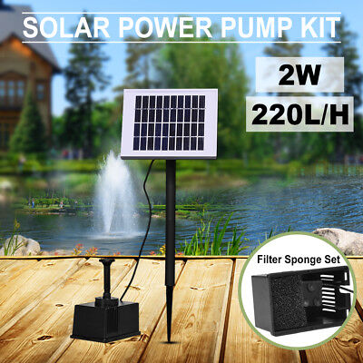 Solar Power Fountain Garden Pool Pond Plants Submersible Water Pump Kit 2W 10V