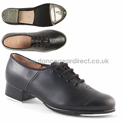 Bloch Black Jazz Tap Dance Shoes Lace Up Oxford Leather with taps Ladies S0301