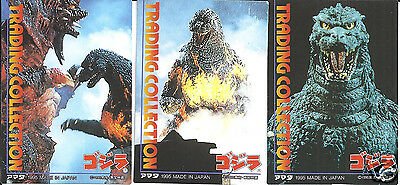 GODZILLA CARDS 1995 JAPAN RELEASE STICKER LOT OF 3 DIFFENT #'S 2,4,5 MINT