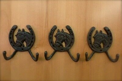 3 BROWN ANTIQUE-STYLE CAST IRON HORSE HORSESHOE HOOKS wall rustic western cowboy