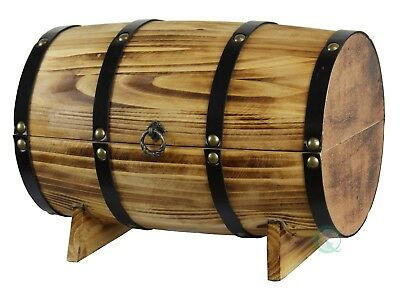 New Vintiquewise Wooden Barrel Treasure Chest, QI003066