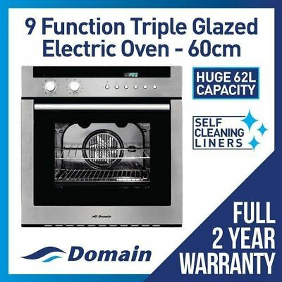 NEW DOMAIN 60cm 9 FUNCTION ELECTRIC FAN FORCED WALL OVEN - CARTON DAMAGE