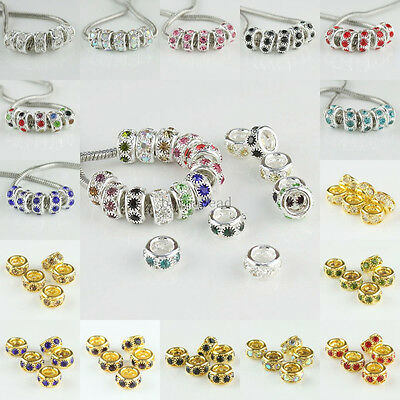 Wholesale Rhinestones Crystal Jewelry Spacer Charms Beads Fit European Bracelets