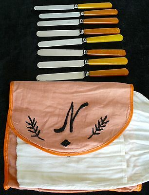 Antique Art Deco Butterscotch Bakelite Knives In Period Cloth