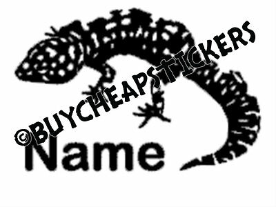 Leopard Gecko with Name Vinyl Decal - Sticker 3x4 - Any Color