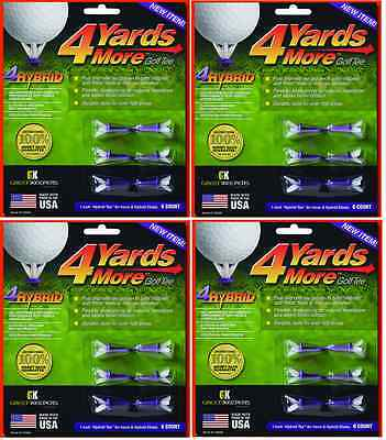 4 Yards More Tees 4x Six Pack Hybrid / Iron 1 inch 24 tees Four Yards Longer!