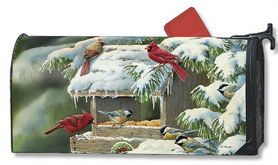#5973 Winter Feeder Mail Box Magnetic Mailbox Cover Cardinals Mailwrap - New!!