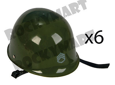 (LOT OF 6) Toy ARMY Helmet Olive Drab Green Hat Kids Military Costume RM1565