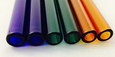 "Pyrex Glass Blowing Colored Tubing (6)Pces Blue,Amber,Green,12 mm 8 ""LONG"