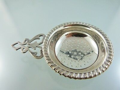 PLAIN PIERCED GADROON BORDER TEA STRAINER SILVER PLATE BY R in triangle MAKER