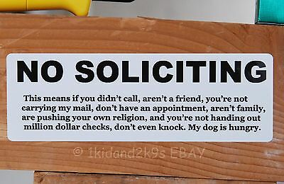No Soliciting Solicitors • Sticker Door Sign Signs Decal Stickers Window Funny