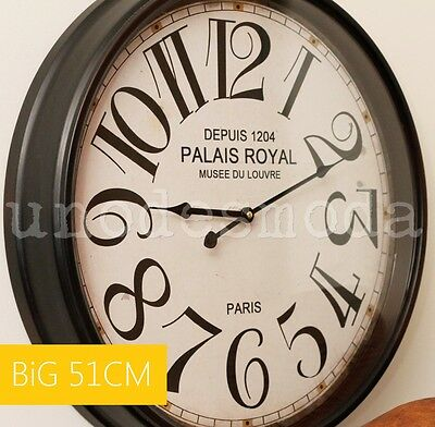 MODERN WALL CLOCK 51CM Paris Print FRENCH DESIGNER Classic Rustic Quartz Decor
