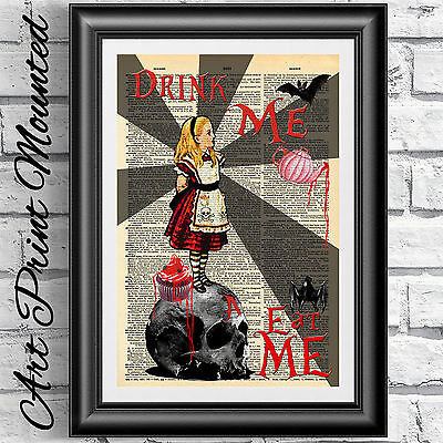 MOUNTED Gothic Alice in wonderland Print dictionary book page. Skull steampunk.