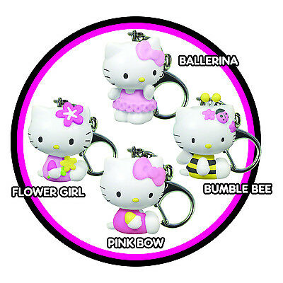HELLO KITTY Mini Keychain Keyring Sanrio Pink Bow Flower Girl Ballerina Bee NEW