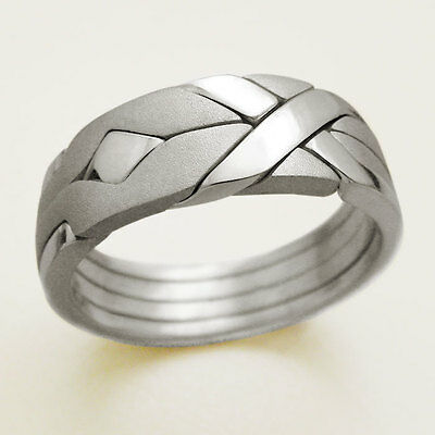(SOLID MATTE) Unique Puzzle Rings - Sterling Silver - Any Size