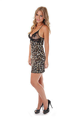"""The purrfect redkora """"The Foxy"""" 100% pure knitted silk leopard print chemise"""