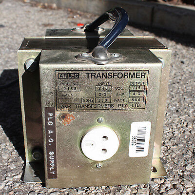 Arlec Transformer type no. 2168 Step down Primary 240V Secondary 115V 4.3A  500W