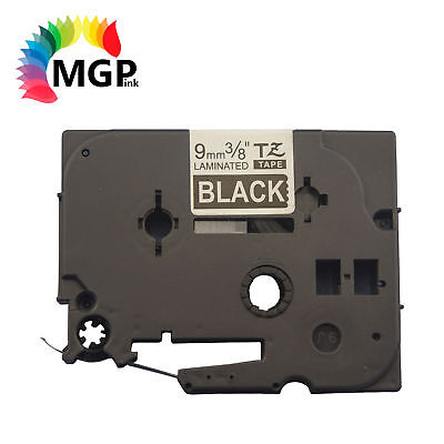 1 LAMINATED Label Tape for Brother TZ325 9mm White on BK PT-1010 PT-1000 PT-1090