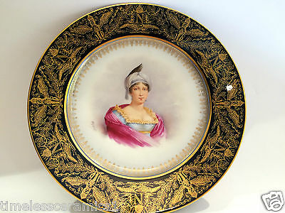 Antique Sevres Imperial Hand Painted Porcelain Potrait Plate Letizia Bonaparte
