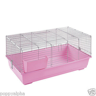 RABBIT GUINEA PIG INDOOR CAGE HUTCH 80cm 100cm 120cm 80 100 120 NEW PINK SILVER