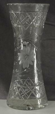 "Vintage American Brilliant Crystal 190's Floral Cut Glass Flower Vase 12"" Tall"