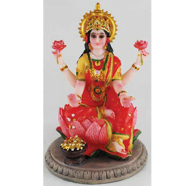 Goddess Laxmi LAKSHMI Lotus Blossom STATUE Figurine Hindu Puja INDIAN Mythology