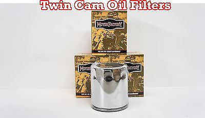 Lot of 4 Chrome 10 Micron Oil Filter Custom Chrome Harley Twin Cam Repl 63798-99