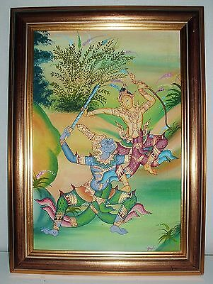 Painting Of Thai Warriors Hand Painted Oil Canvas W Golden Wood Frame Vintage