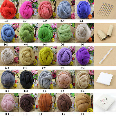 25colors Wool Fibre Needle Felting+Felting Needles Starter Kits Mat Tools