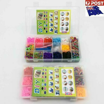 2x Storage Case Loom Band Kit-3000 Loom Bands,Mini Loom,Clips,hook-AU