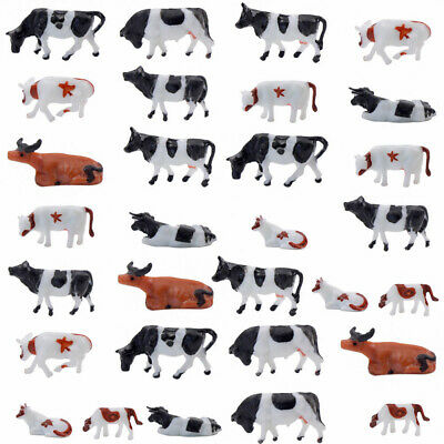 AN8701 30pcs 1:87 Well Painted Farm Animals Cows HO Scale