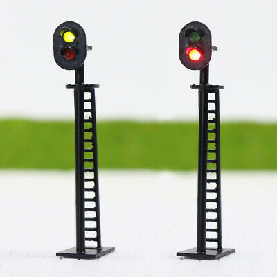 JTD03 5pcs Model Railway 2-Light Block Signal Green/Red HO Scale 6cm 12V Led New