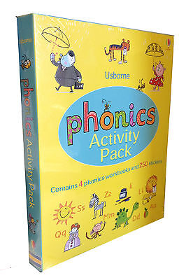 Usborne Phonics Activity Collection 4 Books Set With Stickers ( Phonic Workbook)