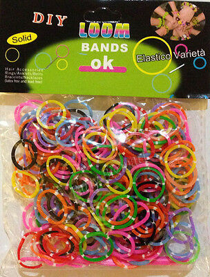 300pcs Polka dots Tie-Dye Loom Band Rubber band +12 S-Clips & 1 Hook- Aus Stock