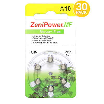 Zenipower 1.45V Hearing Aid Batteries Size 10 (30 Batteries Total)